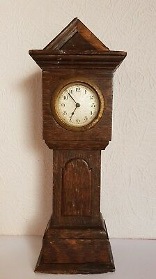 Antique Miniatare Oak GRANDFATHER/LONGCASE Clock - 30cm high