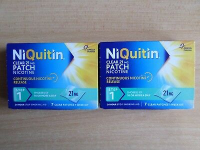 2 x 7 NIQUITIN STEP 1  CLEAR PATCHES NICOTINE 21MG 2 WEEKS SUPPLY