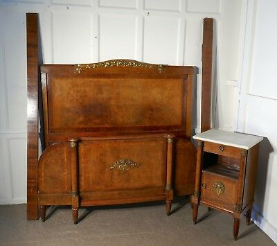 French Art Deco Design, Empire Style Burr Walnut Double Bed and Cabinet