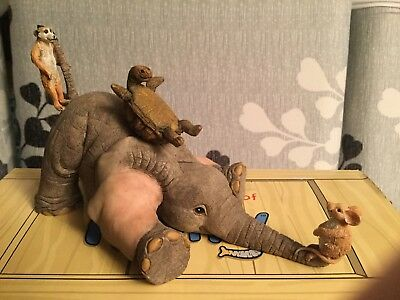 """Tuskers Elephant """"henry & Friends Ele Skelter""""91035 Hand Painted Country Artists"""