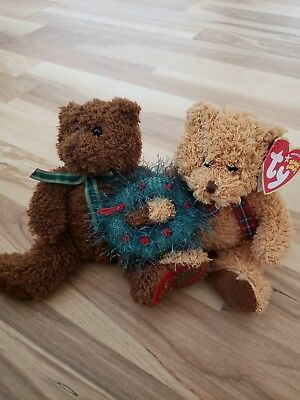 TY Beanie Babies - MERRY KISS-MAS the Holiday Bears (set of 2) (8 inch) - MWMTs