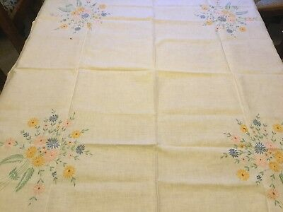 "Beautiful vintage hand embroidered White Linen tablecloth 40"" X 43"""