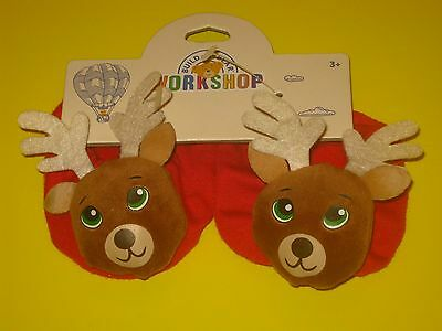 BUILD-A-BEAR Accessory RED REINDEER SLIPPERS Christmas