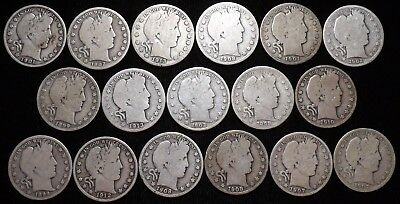 Lot of 17 Mixed Date  Barber Half Dollars   1898 - 1913
