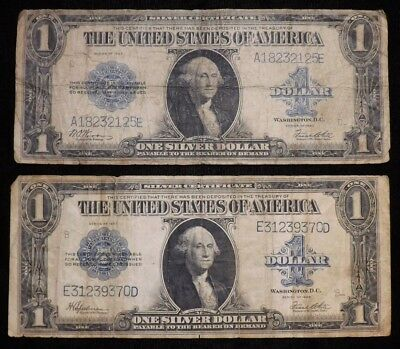 Lot of 2  1923 1 Dollar Silver Certificate Paper Notes   Circulated