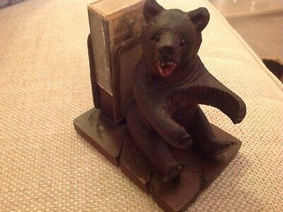 Antique Black Forest Bear Smokers Companion - Hand Carved