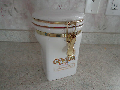 Gevalia Kaffe White Ceramic Coffee Jar, Canister, Container With Brass Latch