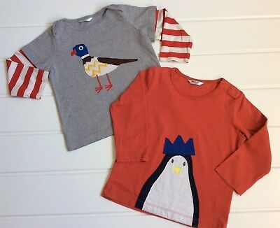 Baby Boden 12-18 Months pair of long sleeve tops jersey cotton penguin pigeon