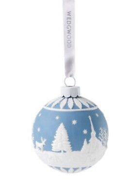 NEW 2017 Wedgewood BLUE Winter Country ROUND BALL Porcelain Jaspeware Ornament