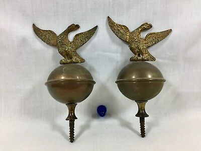 Pair Good Original Antique Brass Longcase Clock Finials