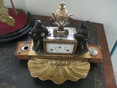 Rare Gilt and Bronze Ink Standish Desk Clock By Moser a Paris