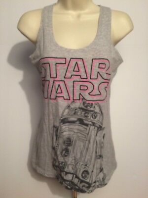 Star Wars Womens Tank Top Gray Sleeveless Size S Racer Back R2D2 Excellent