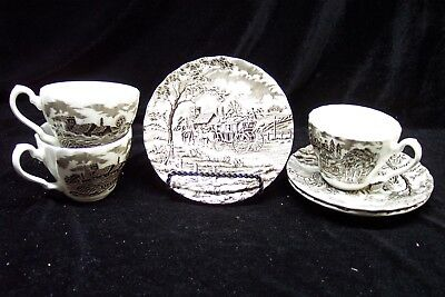 Myott Royal Mail 3 Sets Cups and Saucers - Preowned