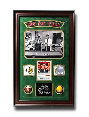 "Rat Pack ""Oceans 11"" Billiards Pool Collage W/ Facs Autographs Signed Photo Room"