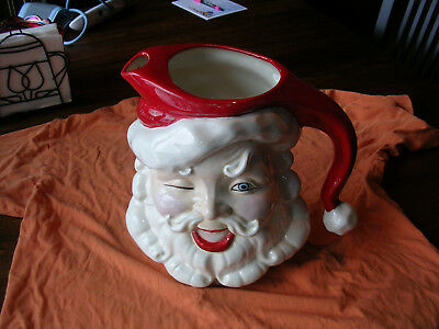 Vintage Santa Claus Pitcher With Ice Lip 1 Gallon Christmas 10 inches tall