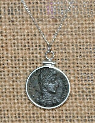 Authentic Constantine the Great Son Constantius Coin Sterling Silver Necklace