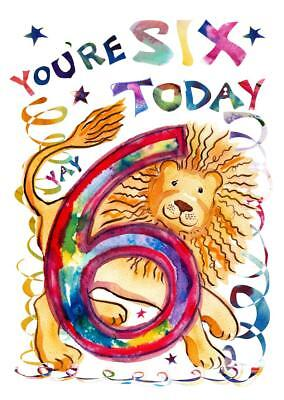 Sixth Birthday Card Six 6 Year Old Girl Child Kids Kid Daughter Boy Son