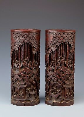 A Pair Of Chinese Bamboo Vases, China, Late Qing Dynasty