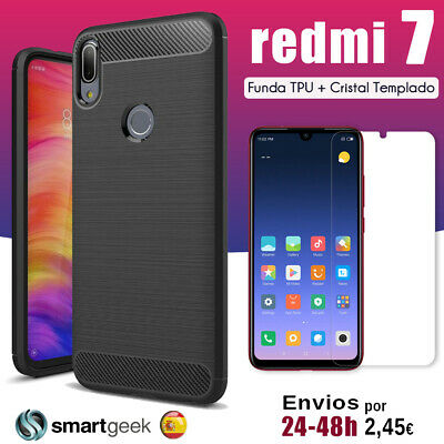 FUNDA TPU CARBON XIAOMI redmi NOTE 6 PRO + CRISTAL TEMPLADO carbon case glass