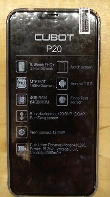 4G Cubot P20 Android Smartphone 4GB+64GB Octa Core 6.18″ FHD+ Handy