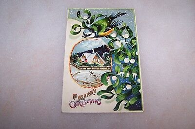 Vintage Christmas Post Card Blue/Green Vines With Bird & Snowy Home Scene