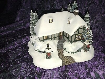 "Hawthorne Thomas Kinkade Christmas Village ""Christmas Cottage"" With Light"