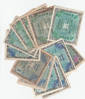 Germany WWII Military Payment Certificate 1/2 1 5 Mark Series 1944 Lot of 12