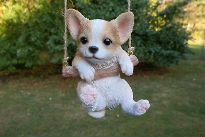 Chihuahua Puppy Dog Figurine on a Swing Resin Ornament Statue Chiwawa New