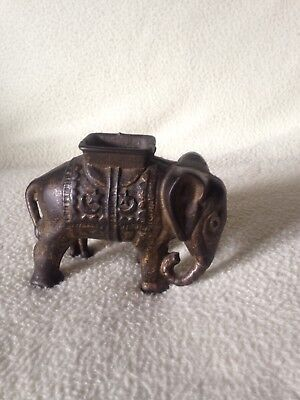 Vintage Cast Metal Elephant w Pagoda Coin Bank Small Figurine
