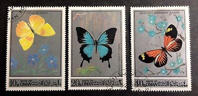 """3 nice stamps butterflies """"State of Oman"""""""