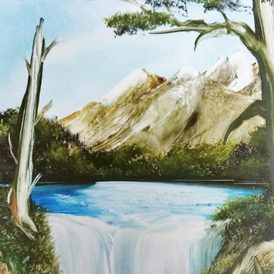 Hand Painted ceramic Tile, Framed, Mountain Scene, Signed