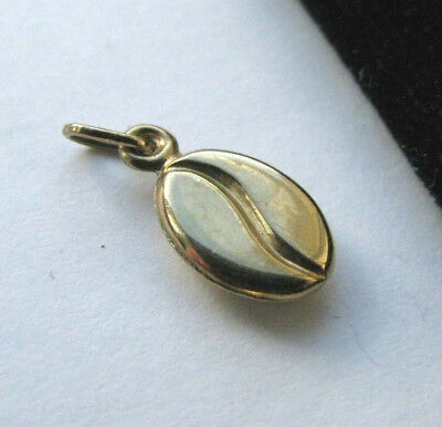 9ct Yellow Gold Coffee Bean Charm / Small Pendant Mint Gift 49p Start No Reserve