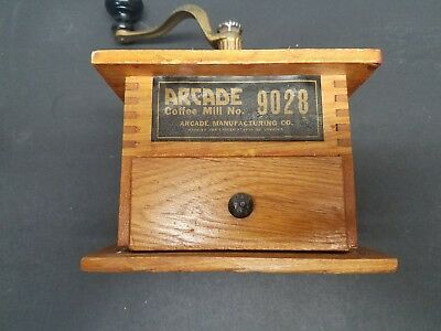 Rare Antique USA ARCADE IMPERIAL Wood Coffee Mill Grinder Free Shipping NICE!!!