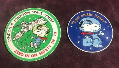 Lot of 2 - NASA SNOOPY SPACE STAR STICKER DECAL AUTHENTIC 1968