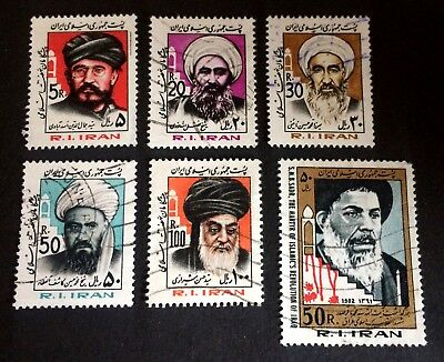 6 interesting old used stamps leaders of R.I. Persia