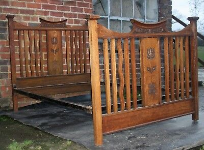 Good  Edwardian carved Arts and Crafts solid oak standard double bed 1910