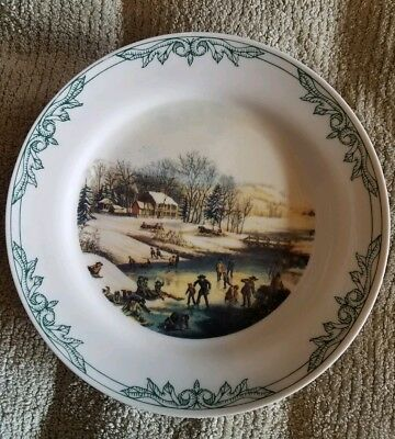 """Set of 4 Currier and Ives Plates 8 """" 2001 4 different Winter scenes NY Museum"""