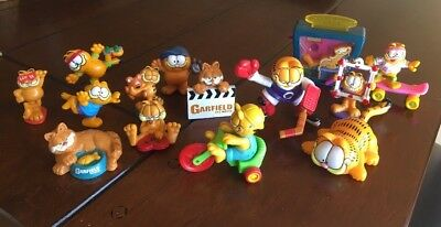 """Vintage 80s Garfield 2"""" PVC Figure Lot of 11 United Feature Syndicate"""