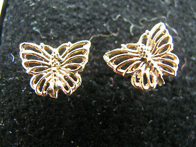 9ct Yellow Gold Vintage Butterfly Stud Earrings Box Cleansed & Nice No Reserve
