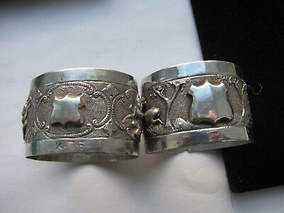 Antique Solid Silver Two Indian Scenic Napkin Rings 29.3g Superb Nice No Reserve