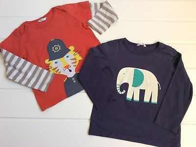 Baby Boden 18-24 Months pair of  Cotton Long Sleeve Tops elephant tiger motif