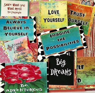 Junk Journal Kit 25 Pieces including new papers and Quotes. Scrapbooking Supply