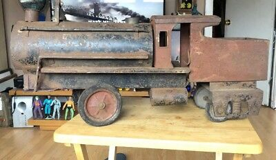 "Antique 1940s ? Ride-On Metal Train Locomotive Pressed Steel 28"" Toy Vintage Old"