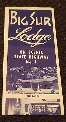 Vintage 1950's Big Sur Lodge on Scenic State Highway No 1 Brochure Ephemera Room