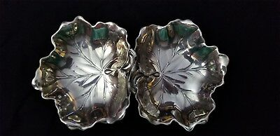 Reed & Barton Sterling Silver 2 Leaf Candy Dish Loop Handle 1941