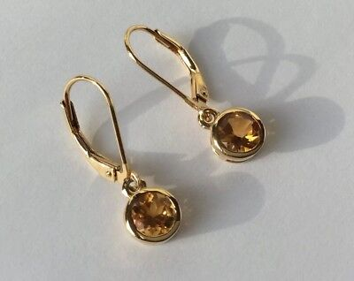 Yellow Citrine Level Back Drop Earrings In 14K Gold Overlay 925 Sterling Silver