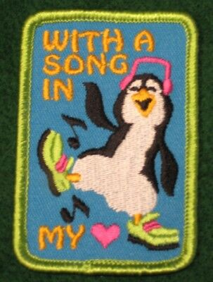 With A Song in my Heart Cub Boy Girl Scout Fun Patch Badge - NEW