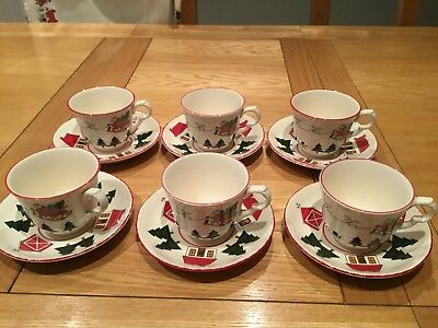 Set Of 6 Mason's Christmas Village Tea Cup and Saucers - Made In England