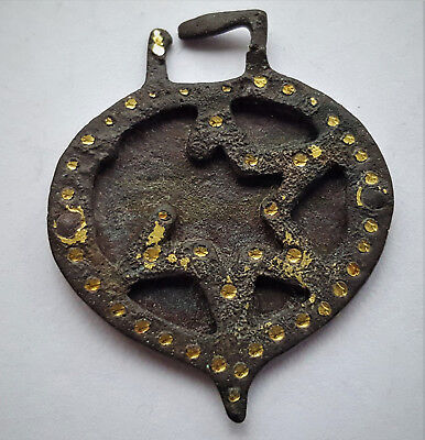 Ancient Roman Bronze Amulet Pendant With Gold Decoration 2-3 Ad