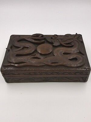 Antique Hand Carved Wood Chinese 3D Relief Dragon Cigar Letter Trinket  Box